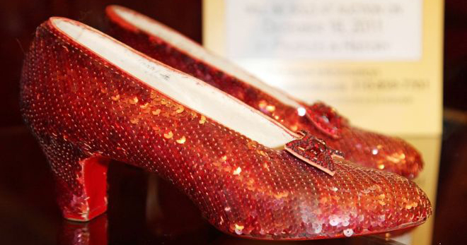 Image of Dorothy's ruby slippers on display.