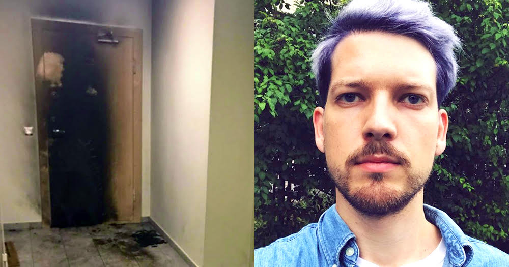 Image of a burnt apartment door and a photo of Romas Zabarauskas standing outside.