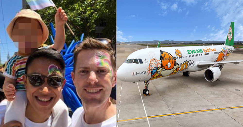 Split image of gay parents Jeff Cobb and husband holding their baby at a pride parade and an EVA Air plane on the runway