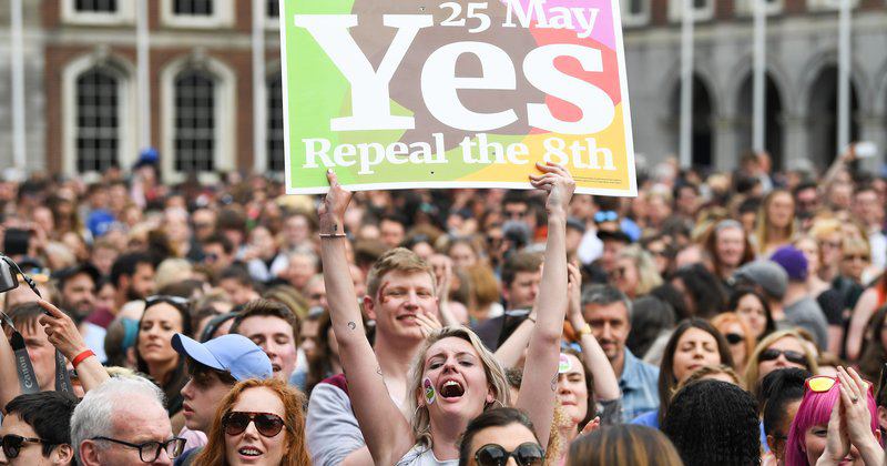 Crowds react as the 8th Amendment is repealed in May.