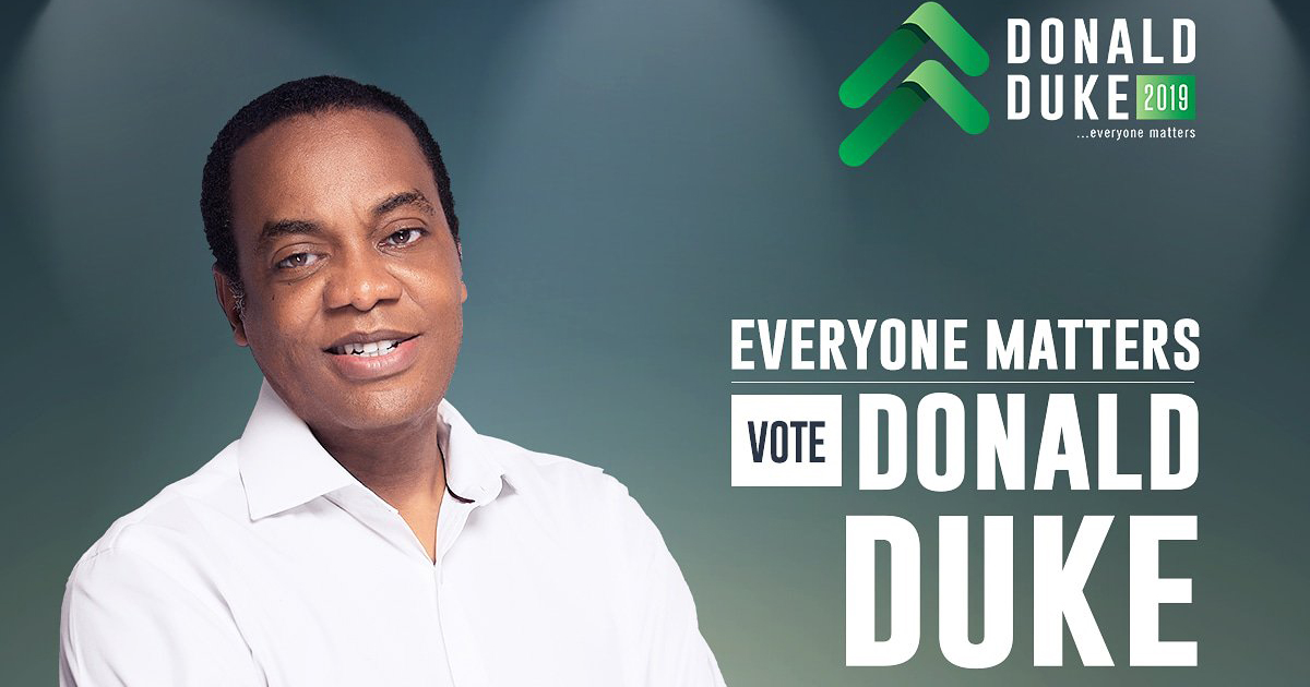 Nigerian presidential candidate Donald Duke's election poster