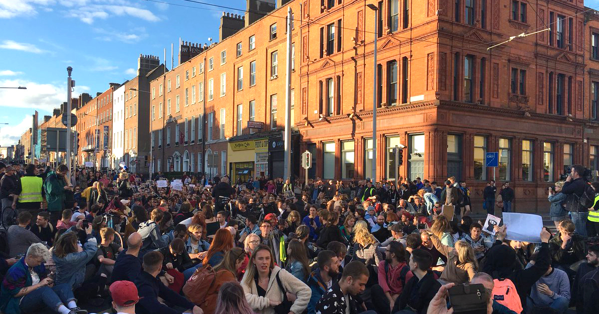 Protestors at O'Connell Street, protesting the housing crisis