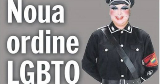 The front page of the Romanian newspaper which compared LGBT+ people to Nazis.