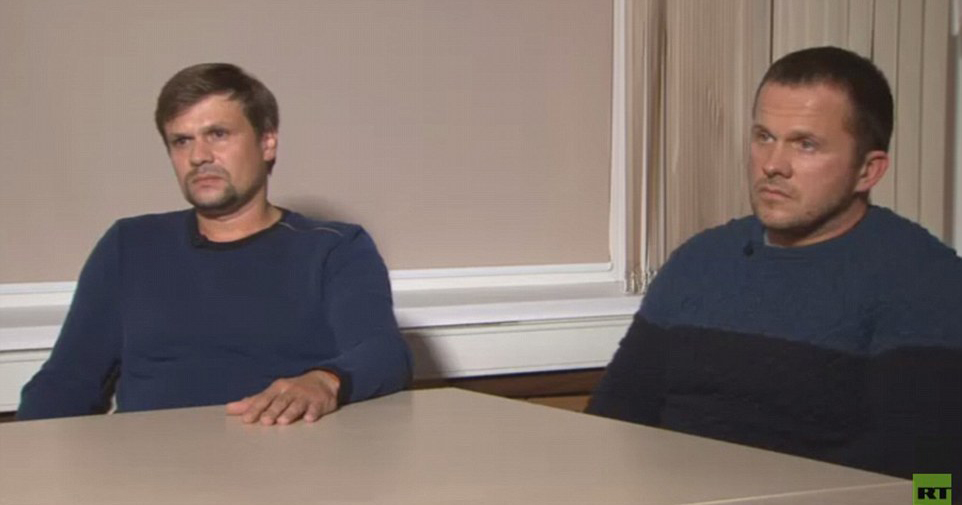 Alexander Petrov and Ruslan Bochirov being interviewed in connection with the Novichok poisoning.