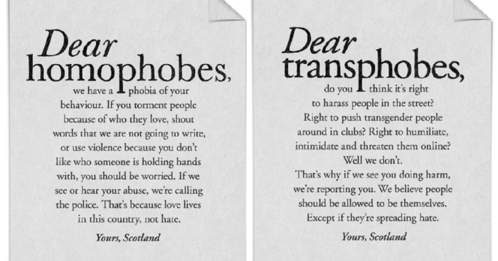 Two of the posters from the billboard campaign, who addressed to homophobes and the other to transphobes.