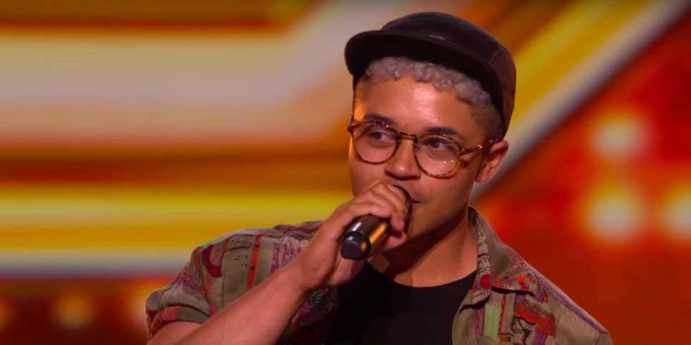Picture of X Factor contestant Felix Shepherd singing.