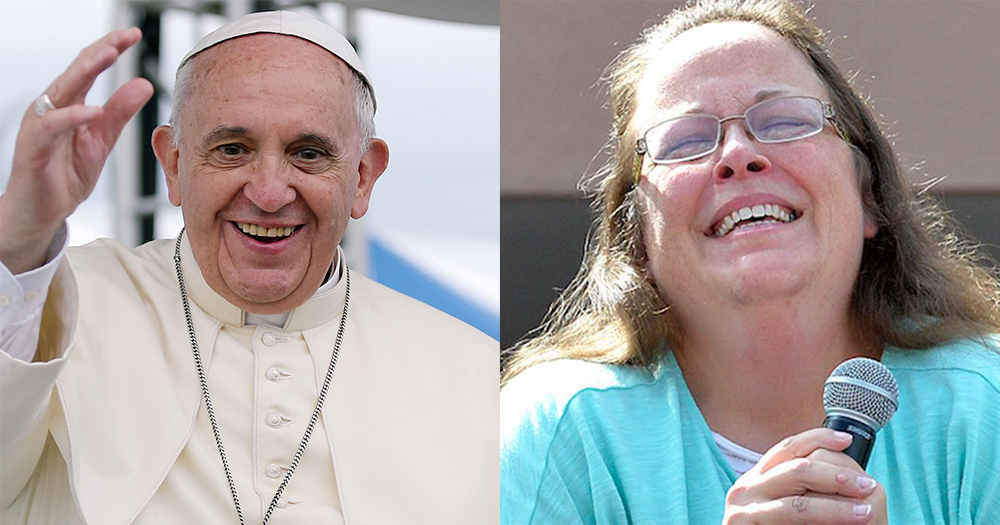 A split screen image of Pope Francis waving and Kim Davis crying