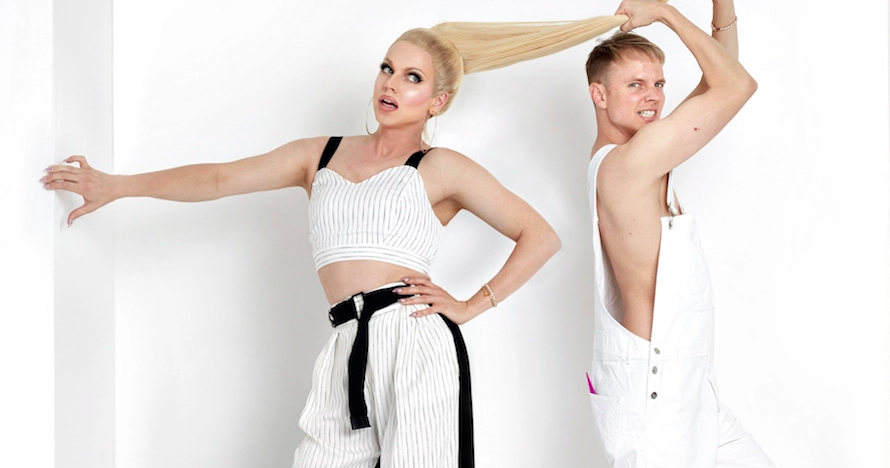 Image of Courtney Act in and out of drag promoting her new bisexual dating show.