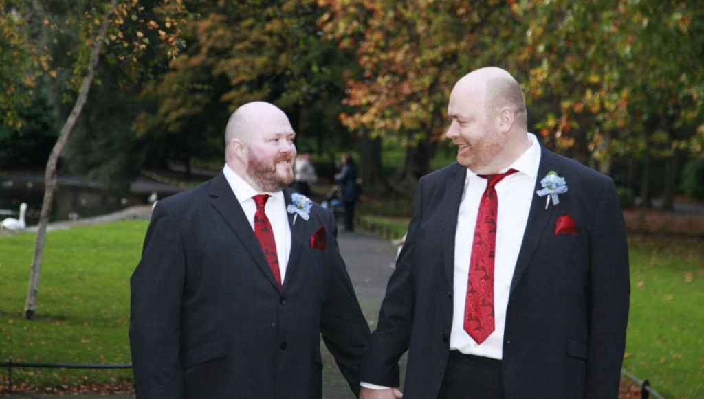 Councillor Francis Timmons with his husband on their wedding day