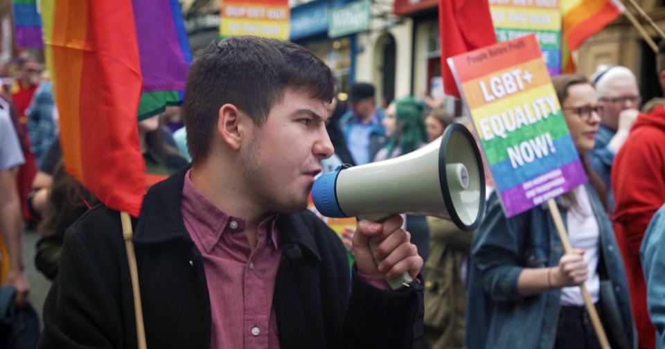 Protesters demonstrating for LGBT+ rights