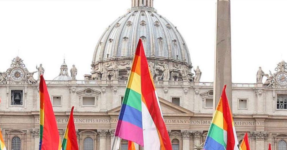 Church with rainbow flags