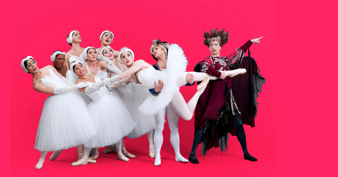 The ballerinas of the all-male drag troupe The Trocks pose in a comedic send up of Swan Lake