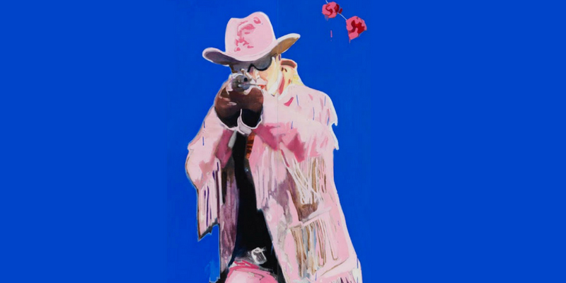 An image for the show The Misfits playing as part of the Dublin Theatre Festival, it shows an animated image of a luridly coloured cowboy pointing a rifle at the viewer