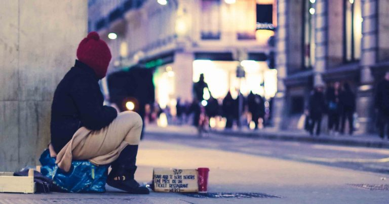 An image of a homeless person on the street. Housing crisis is a huge issue for LGBT+ Youth