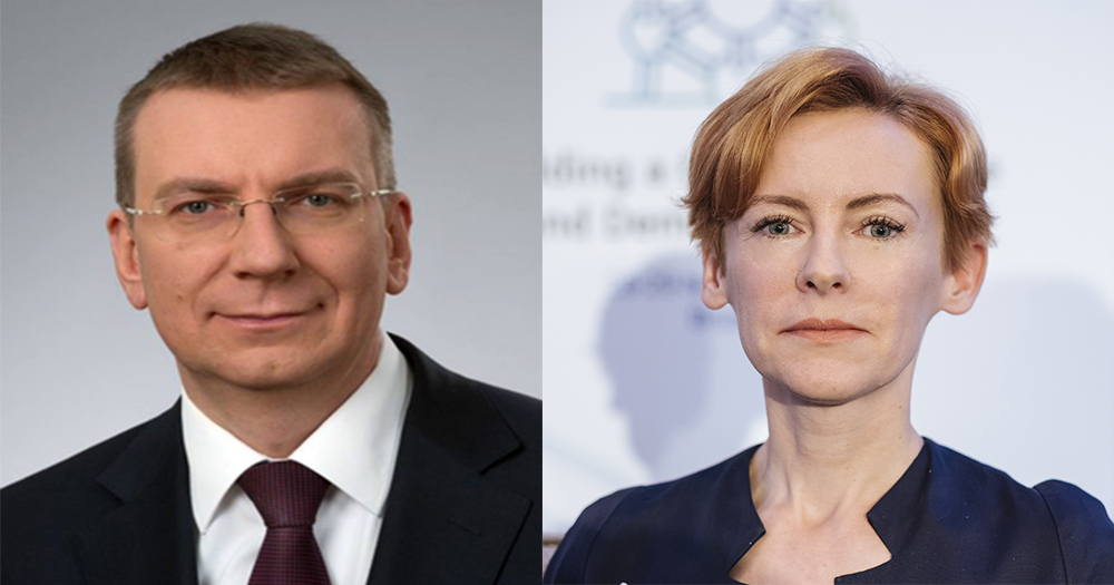 Split screen image of Latvia politicians Edgars Rinkēvičs and Marija Golubeva