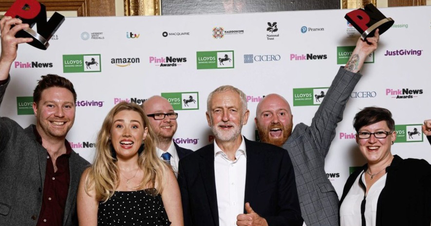 Image of campaigners and Jeremy Corbyn, who urged Theresa May to support marriage equality.