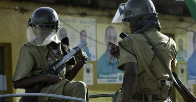 Two members of the riot police in Tanzania.