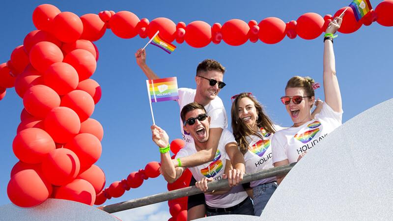 Virgin airlines' float at LGBT+ pride