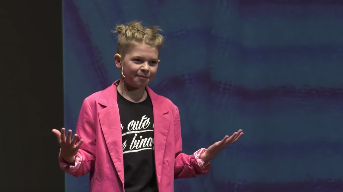 11 year-old Ori at their TEDX Talk where they campaigned for Intersex rights.