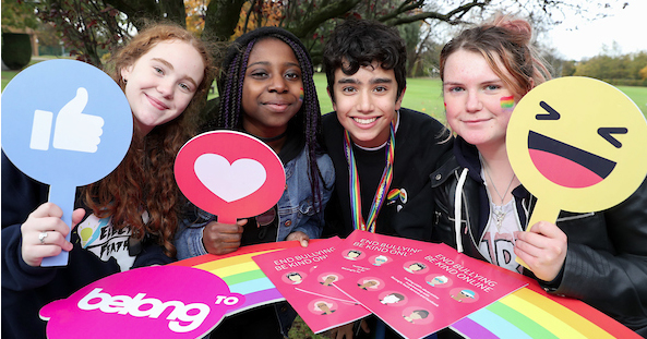 Four young people at the launch of BeLonG To's campaign to end cyberbullying.
