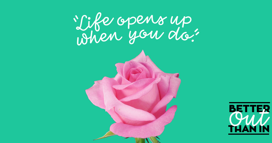 """A pink rose under text that reads """"Better Out Than In"""""""