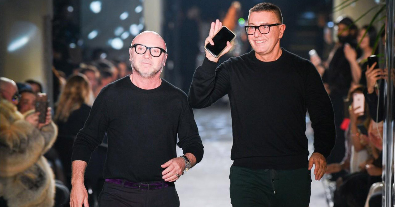 Dolce and Gabbana walking a run way together