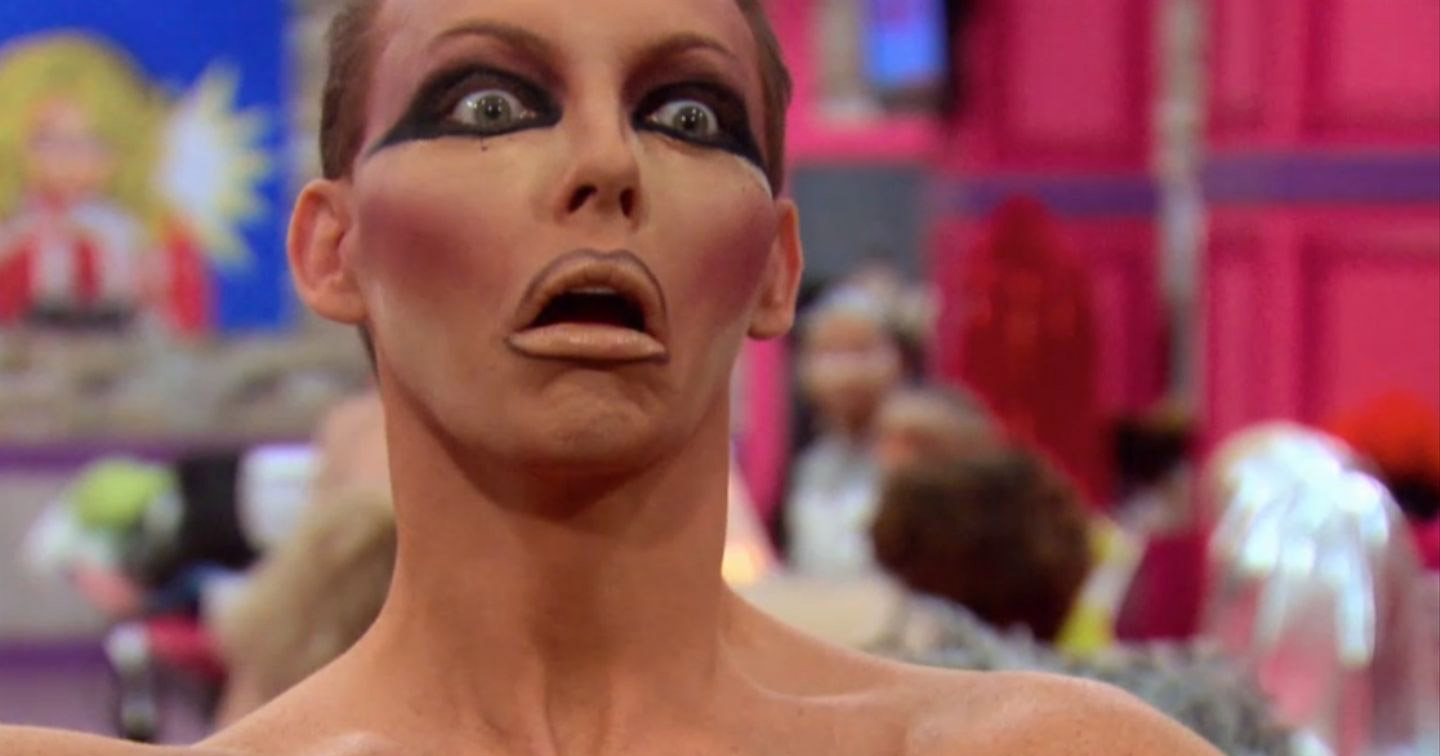 Drag Race Queen looking shocked