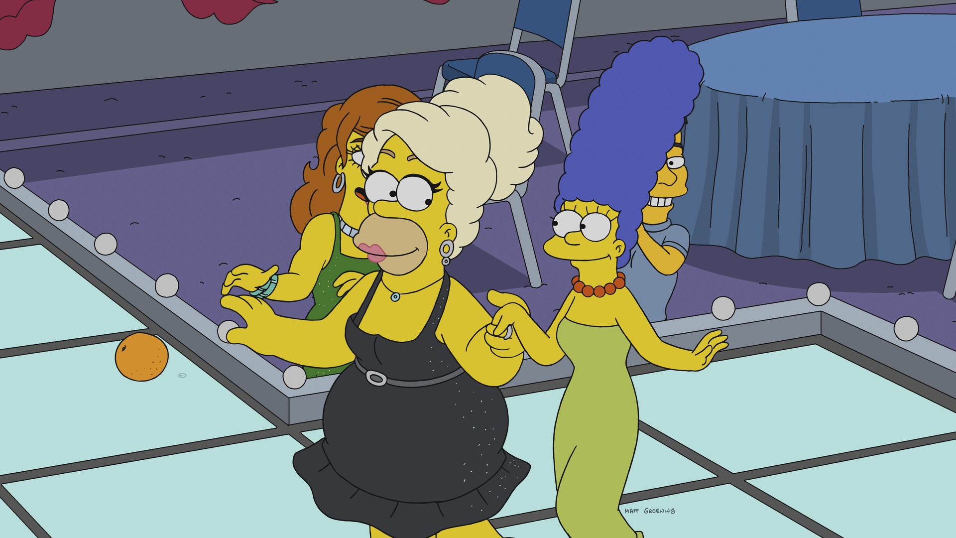 Homer in drag with Marge holding hands in new RuPaul Simpsons episode
