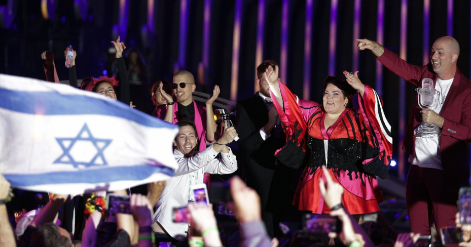 Image of Netta and the Israeli flag at last year's Eurovision. There have been calls to boycott this year's competition.