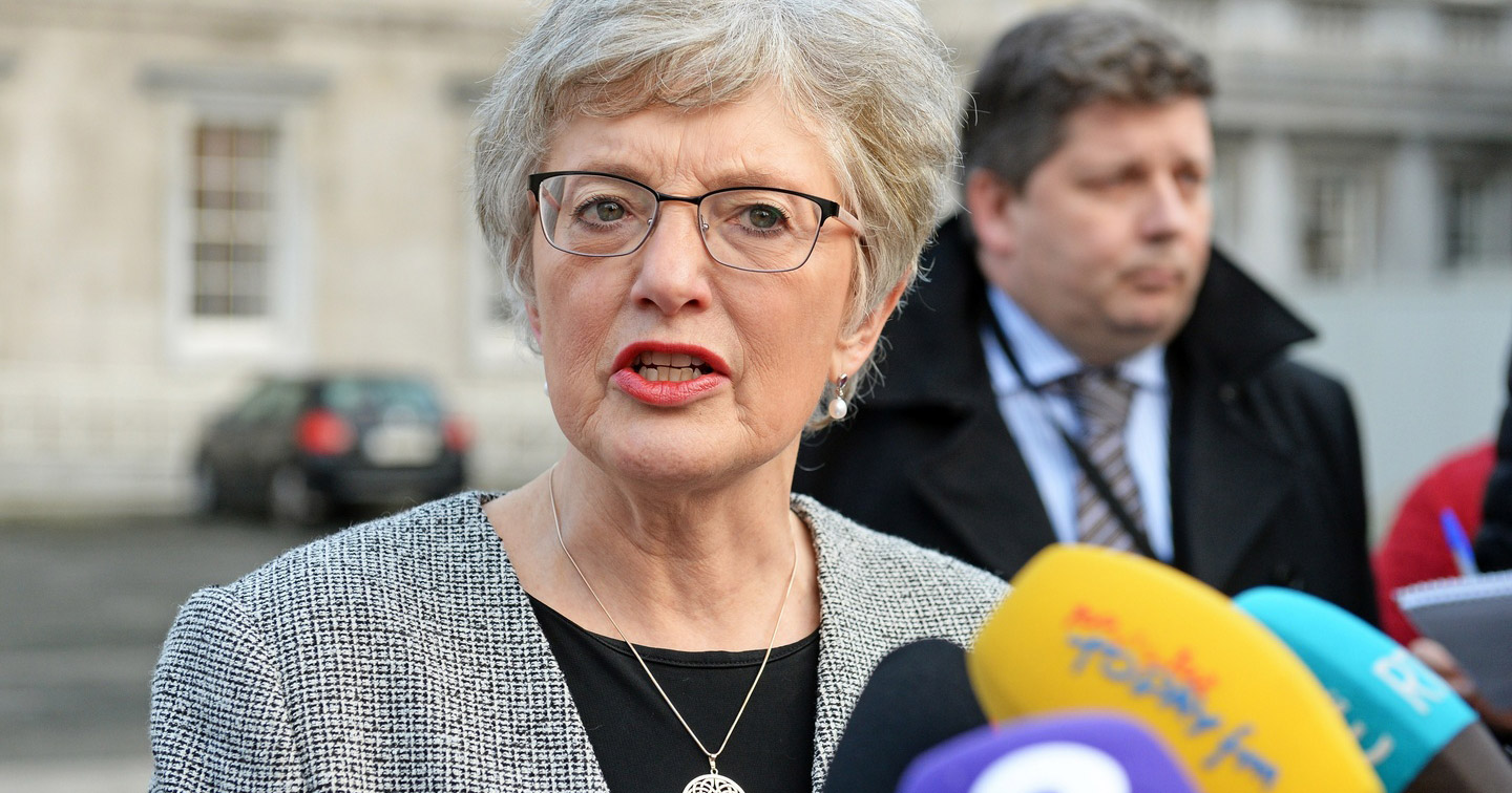 Katherine Zappone speaking to the press at Leinster House