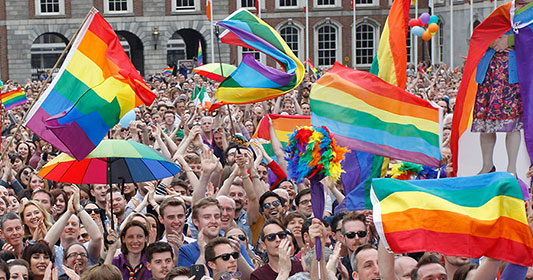 The crowd at Dublin Castle celebrating the victory of the referendum which will allow same-sex couple to marry