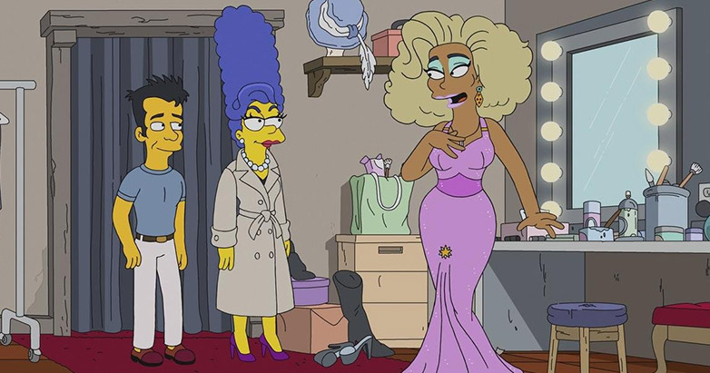 RuPaul and Marge in new RuPaul Simpsons episode with another character in a changing room