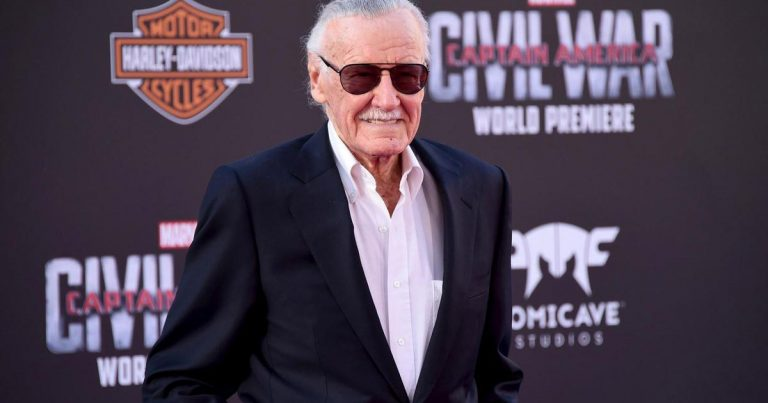 Stan Lee on red carpet at the premiere of Captain America: Civil War