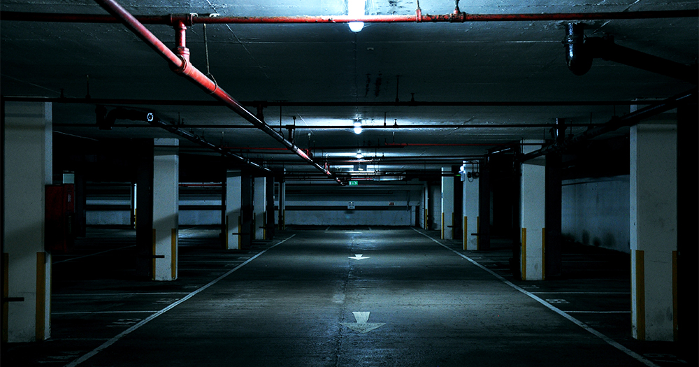 A dark empty car park where an accused kidnapping took place