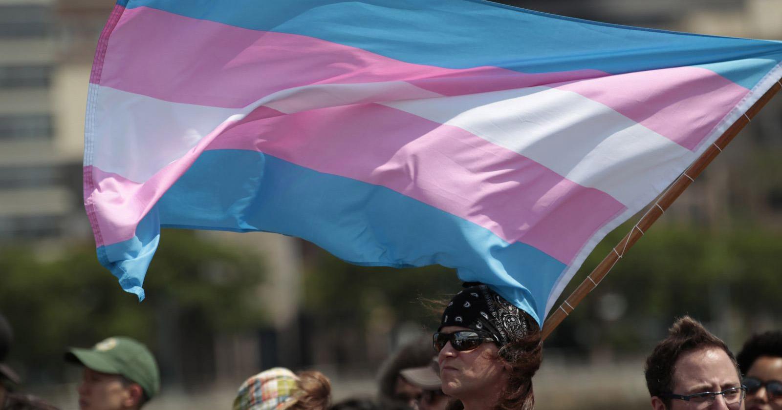 Transgender flag being flown to represent trans awareness week.