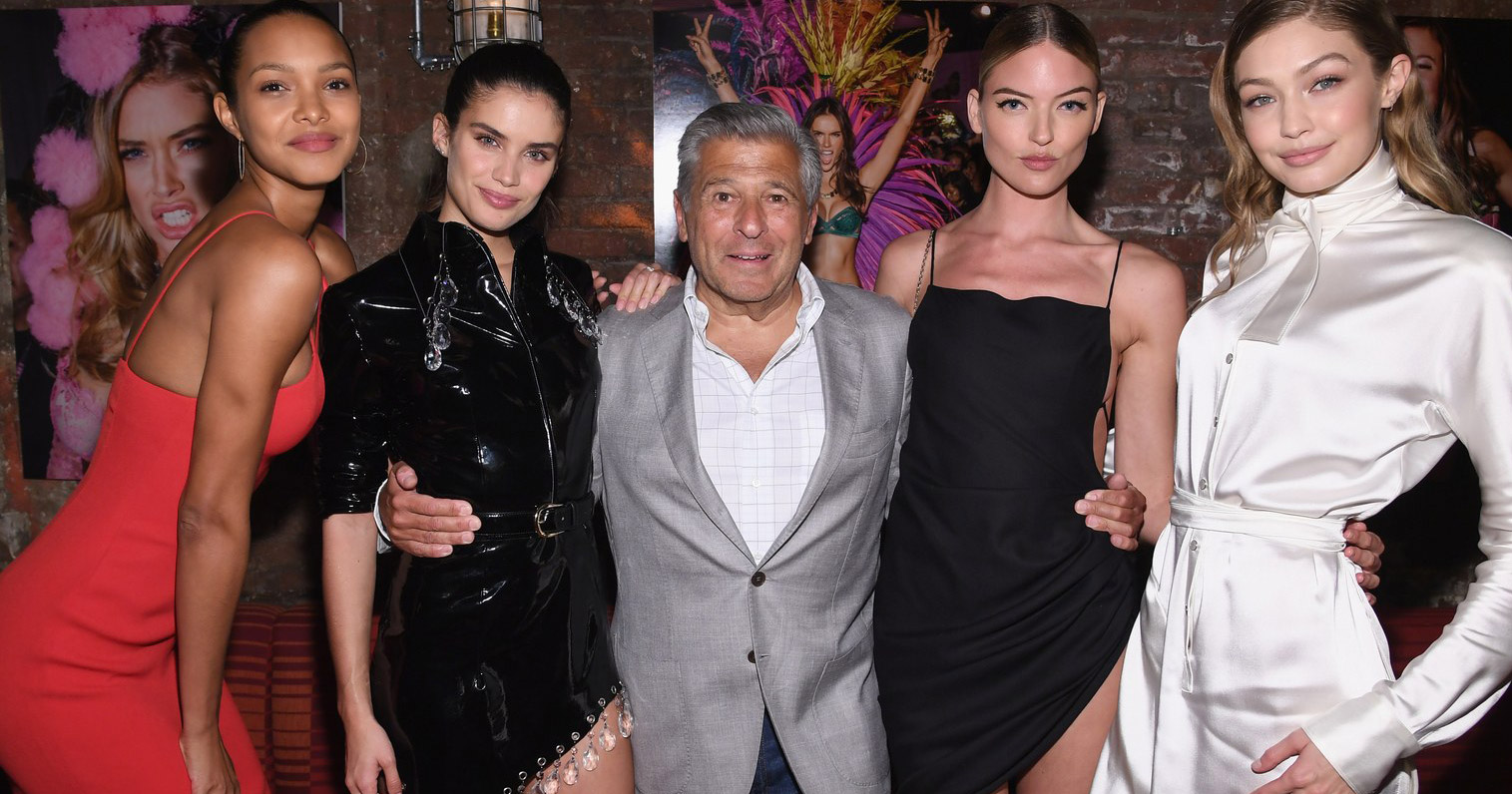 Ed Razek with Victoria's Secret models at the annual show