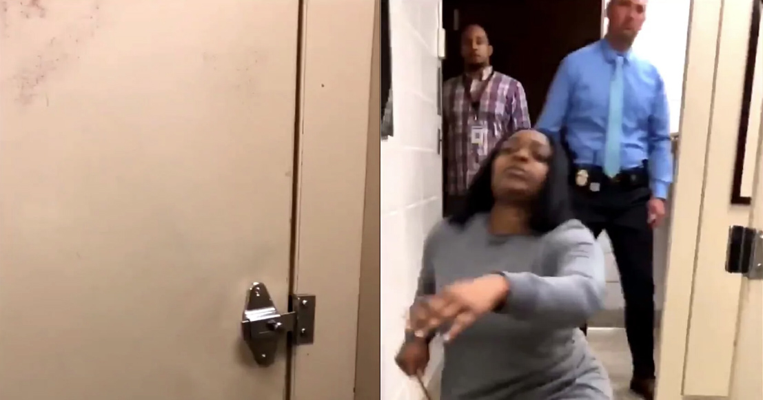 A still from the video which shows three adults inside the bathroom.
