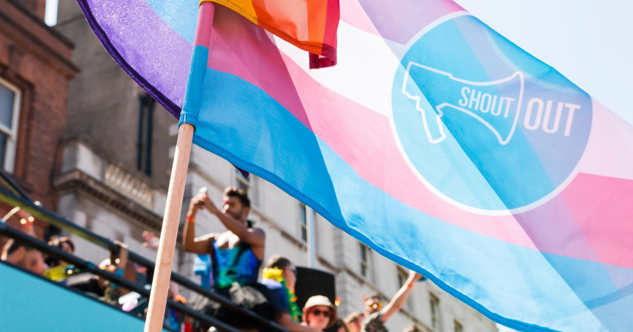 ShoutOut Trans Pride flag at Dublin Pride 2018