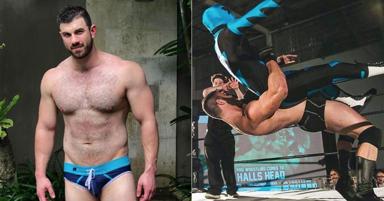 A split screen image of gay wrestler Dave Marshall posing outdoors in skimpy trunk and then body slamming a hooded figure in the wrestling ring