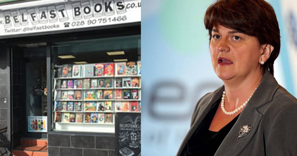 The bookshop in Belfast, which will have the cafe banning members of the DUP. Arlene Foster makes up the other half of this image.