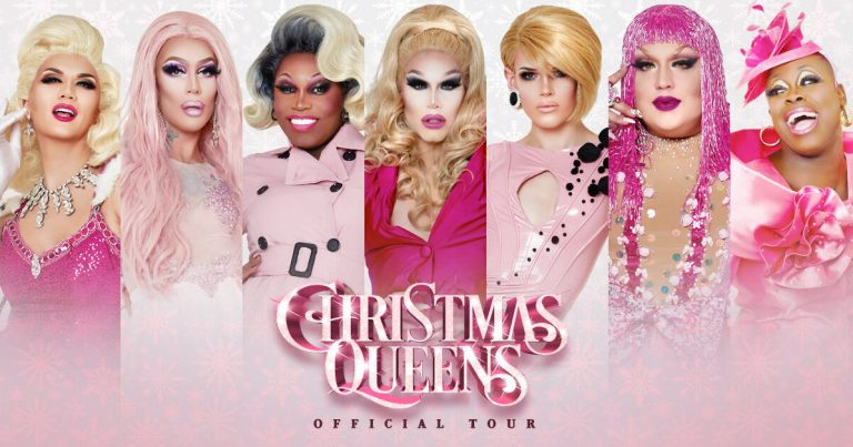 A promotional image for the Christmas Queens tour featuring seven of the Ru Paul's Drag Race contestants dressed in seasonal attire