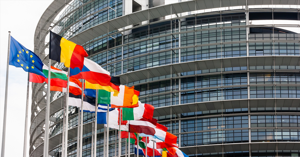 EU member state flags outside the European Parliament