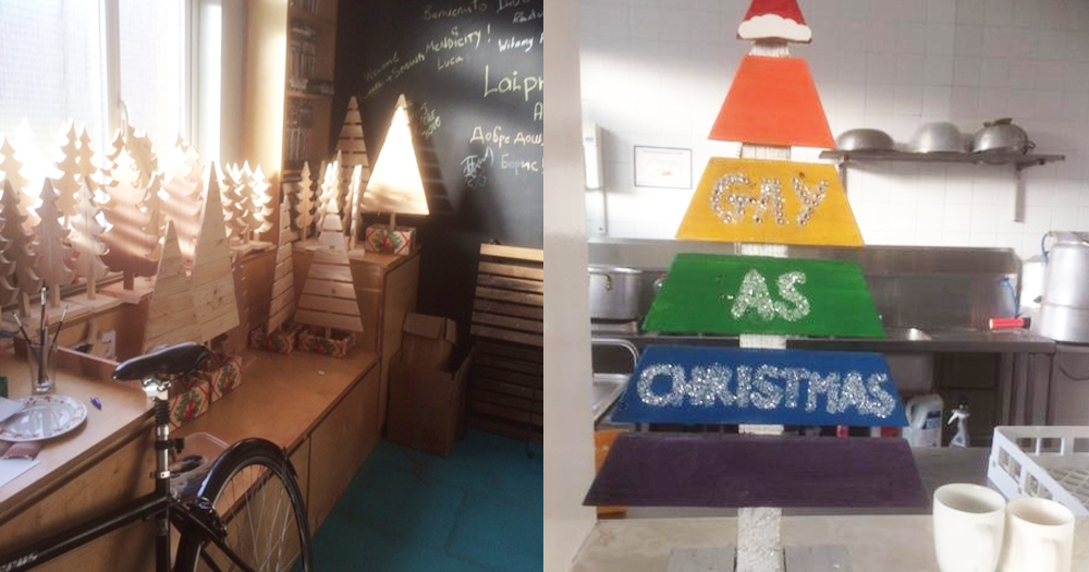 Christmas trees On the left is a picture of Mendicity's workshop featuring the Christmas trees, and on the right is the Christmas tree which reads 'Gay As Christmas'.
