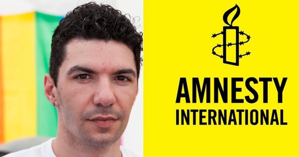 Zak Kostopoulos and the Amnesty International Logo
