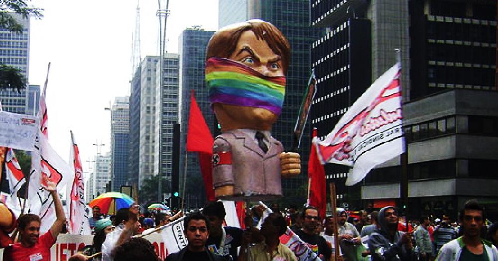 Doll of President Jair Bolsonaro at Gay Pride in São Paulo