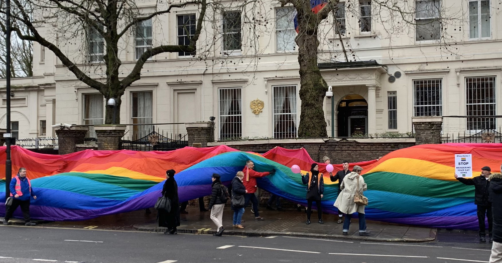LGBT+ Activists Outside the Russian Embassy