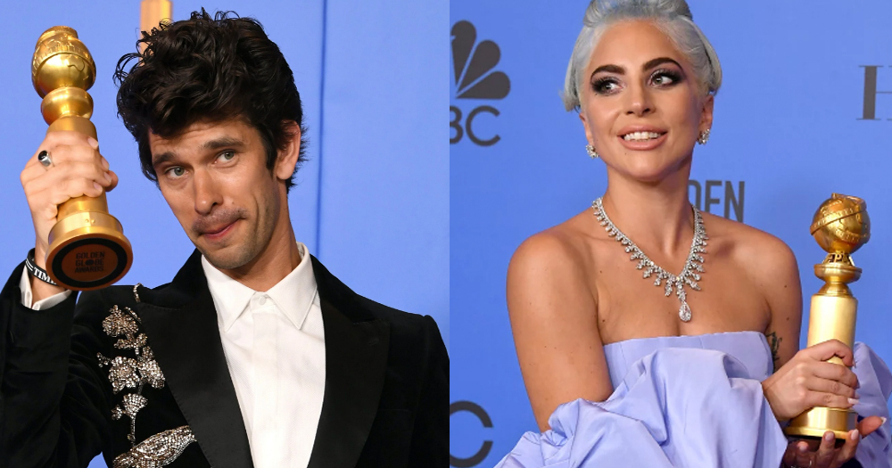 Ben Whishaw and Lady Gaga with their Golden Globes