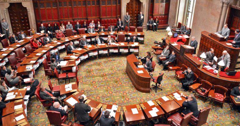 Governors debating in New York State Senate