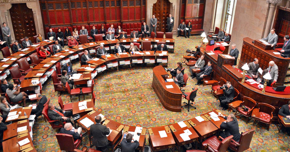Governors debating in New York State Senate