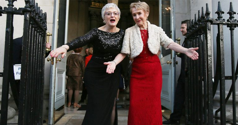 Minister Katherine Zappone and Dr Anne Louise Gilligan on their wedding day wearing the dresses which will be donated to the National Museum